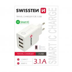 SWISSTEN SÍŤOVÝ ADAPTÉR SMART IC 3x USB 3,4A POWER BÍLÝ