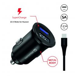 SWISSTEN CL ADAPTÉR PRO HUAWEI SUPER CHARGE 22.5W + KABEL HUAWEI SUPER CHARGE 5A 1,2 M BLACK